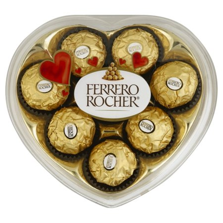 Ferrero Rocher Rocher Hazelnut Chocolates in Heart Box, 8 ct