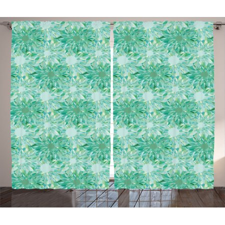 Turquoise Decor Curtains 2 Panels Set, Floral Pattern With Beryl Crystal Guilloche Flowers Carving Art Decorating Image Print, Living Room Bedroom Accessories, By Ambesonne