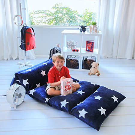 Floor Pillow To Watch Tv : Kids Floor Pillow Fold Out Lounger Fabric Cover for Bed and Game Rooms, Reading, Video Games or ...