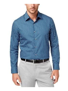 Mens 17-17 1/2 Geometric Print Dress Shirt XL