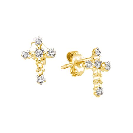 14kt Yellow Gold Womens Round Diamond Cross Religious Earrings 1/20 Cttw - image 1 of 1
