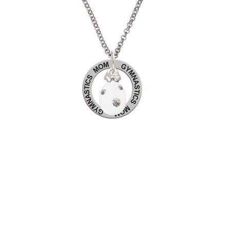 Dot Mother Of Pearl Ring - White Easter Egg with Clear Crystal Dots Gymnastics Mom Affirmation Ring Necklace