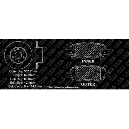 Max Brakes Rear Performance Brake Kit [ Premium Slotted Drilled Rotors + Ceramic Pads ] KT019932   Fits: 2008 08 2009 09 Nissan 350Z w/ Standard Single Piston (Non Brembo) Brake Calipers - image 2 of 8