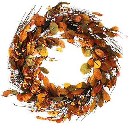 Factory Direct Craft Grand Fall Artificial Bittersweet and Leaf Wreath for Home Decor, Crafting and Displaying (Factory Craft Direct)