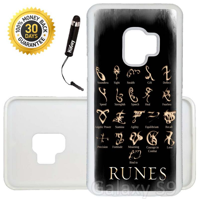 Custom Galaxy S9 Case (Mortal Instruments Runes) Edge-to-Edge Rubber White Cover Ultra Slim | Lightweight | Includes Stylus Pen by Innosub