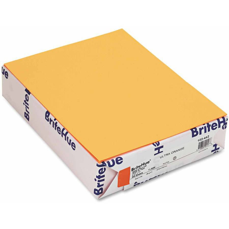 "Mohawk BriteHue Multipurpose Colored Paper, 24-Pound, 8-1/2"" x 11"", Ultra Orange, 500/Ream"