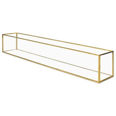 Koyal Wholesale Long Glass Candle Holder Centerpiece Box, 24 x 4 x 4 Gold Centerpiece Tray Decor, Long Table Centerpiece
