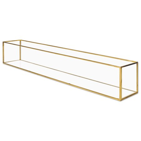 Golf Centerpieces (Koyal Wholesale Long Glass Candle Holder Centerpiece Box, 24 x 4 x 4 Gold Centerpiece Tray Decor, Long Table)