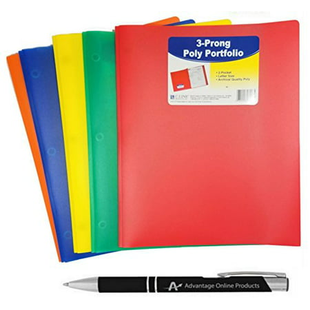 5-Pack C-Line Two-Pocket Heavyweight Poly Portfolio with Prongs, For Letter Size Papers, Includes Business Card Slot, 5-pack With One of Each Blue, Green, Orange, Red and (Business Card Portfolios)