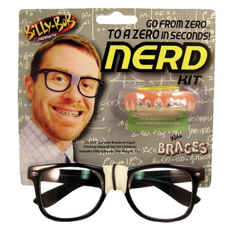 Billy Bob Nerd Kit Glasses Black Frame Tape Fake Teeth Braces - Halloween Fake Body Parts