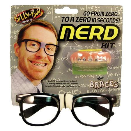 Billy Bob Nerd Kit Glasses Black Frame Tape Fake Teeth Braces](Fake Breast For Halloween)
