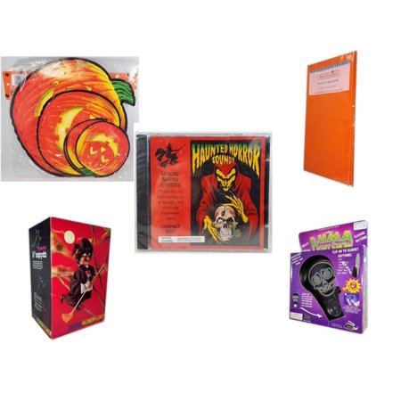 Halloween Fun Gift Bundle [5 Piece] - Classic Pumpkin Cutouts Set of 9 - Bright Pumpkin Orange Plastic Table Cover  - Haunted Horror Sounds CD -  Animated 16