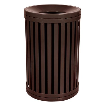 Outdoor Trash Receptacle - Ex-Cell Kaiser SCTP-40 COF 45 Gallon Streetscape Classic Outdoor Trash Receptacle with Swing Door, Brown