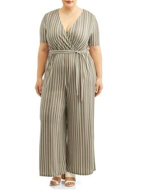 c578fa46d86e Product Image Women's Plus Size Short Sleeve Knit Surplice Jumpsuit