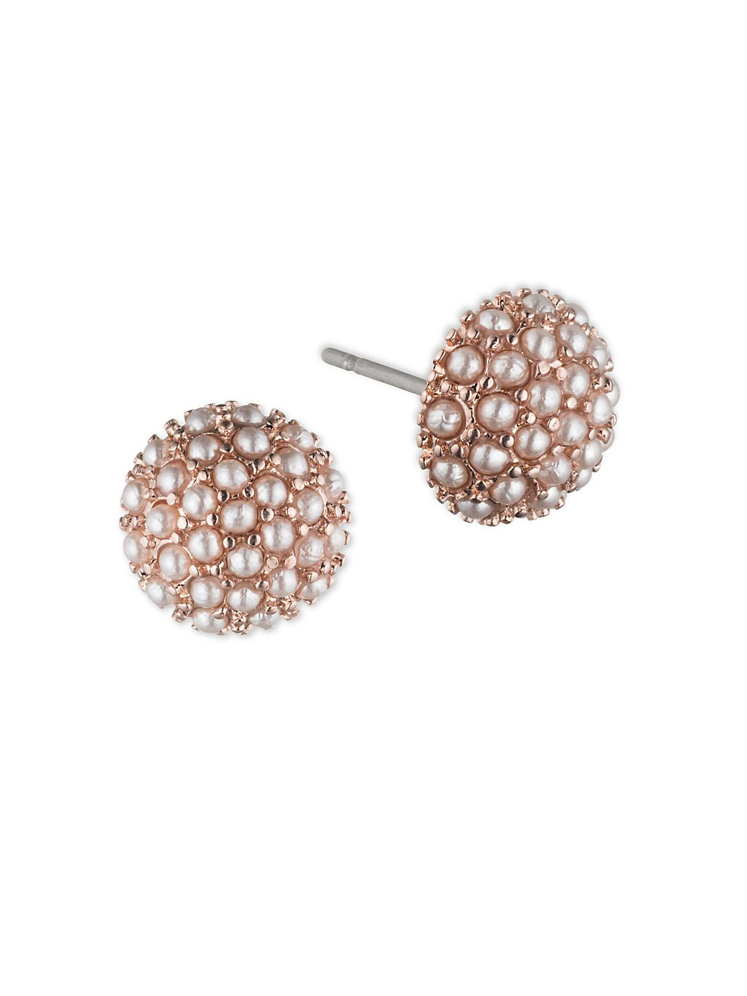1.5MM Simulated Pearl Rose Goldtone Button Stud Earrings