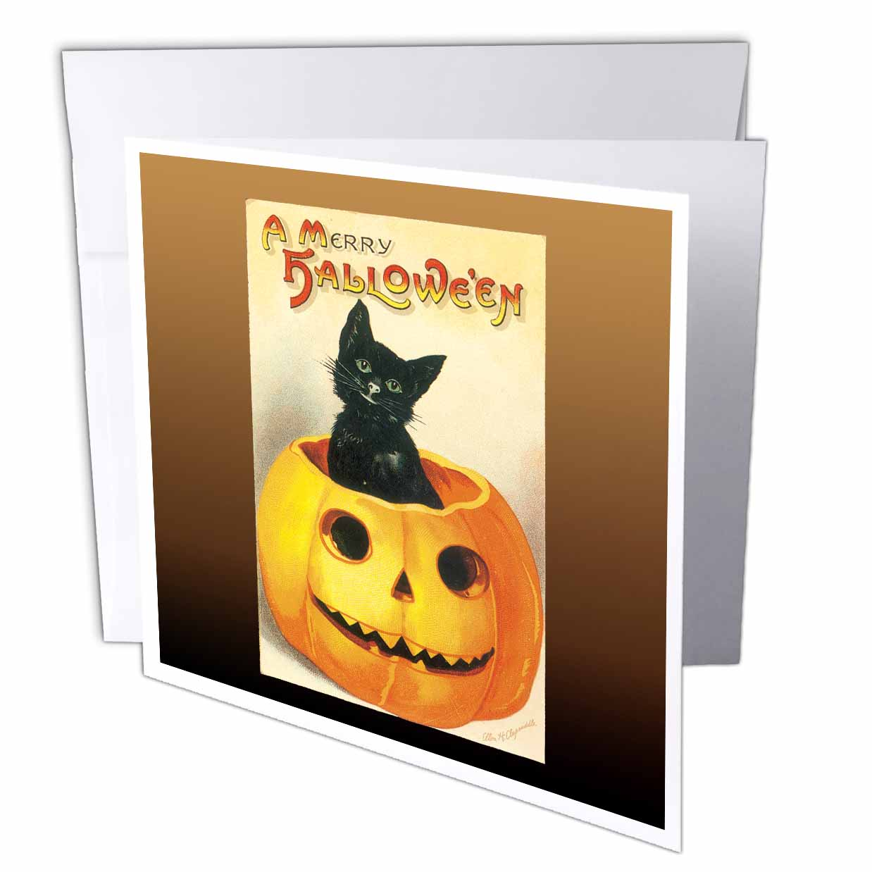 3dRose Vintage A Merry Halloween with a Black Cat sitting in a Jack O Lantern Pumpkin, Greeting Cards, 6 x 6 inches, set of 12