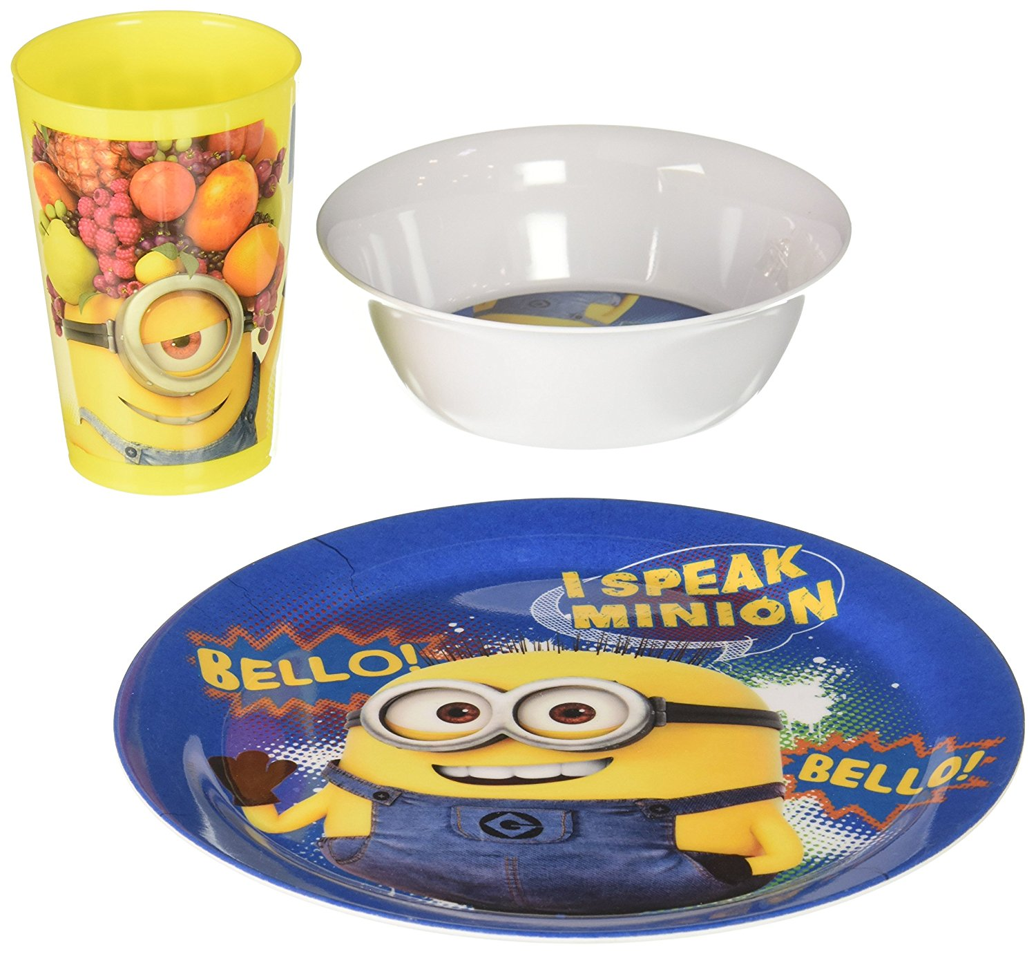 Minions Despicable Me Dinner Plate BPA Free Melamine Kids Picnic Kitchen Foods