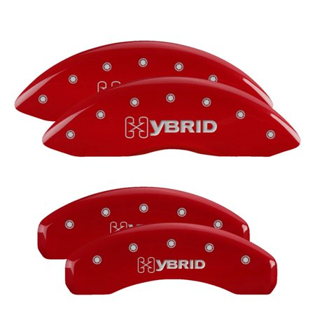 MGP 4 Caliper Covers Engraved Front & Rear Style 1/Chrysler Wing Red finish silver ch