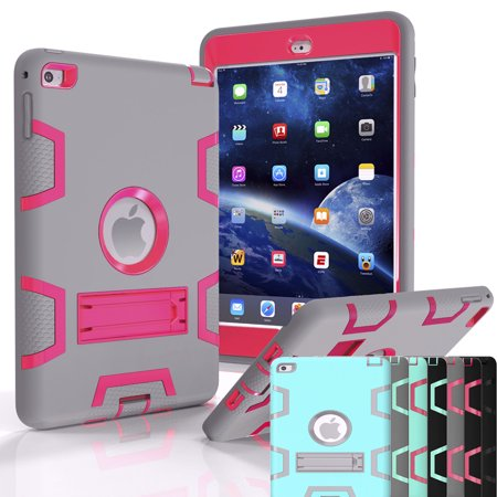 iPad Mini 4 Case, Shock Absorbing Heavy Duty Defender Silicone Hard Case With Kickstand Full Body Anti-slip Protective Cover For Apple iPad Mini 4 Njjex [New