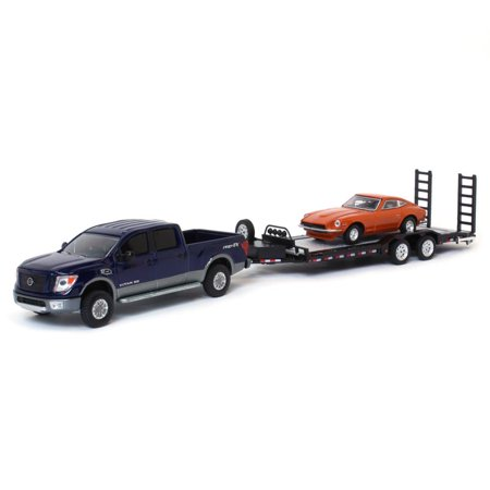 - 1/64 2018 Nissan Titan XD PRO-4X with Datsun & Heavy Duty Trailer, Nissan Exclusive