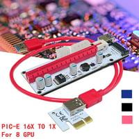 6 PCI-E 16x to 1x USB Extender Riser GPU Adapter Card Mining PowerBTC ETH Cable