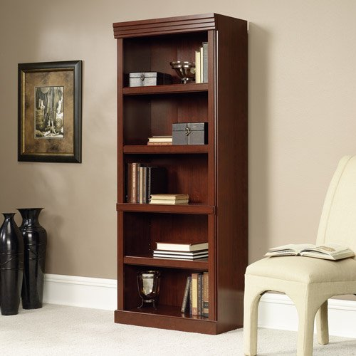 Sauder Heritage Hill 5 Shelf Library Bookcase Cherry