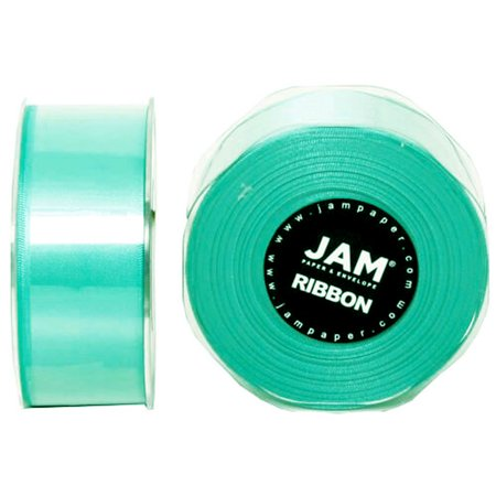JAM Paper Double Faced Satin Ribbon, 1 1/2 x 25 Yards, Teal Blue, Sold Individually](Teal Ribbon)