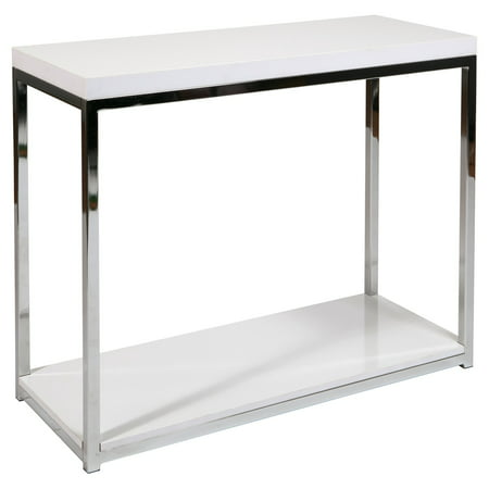OSP Home Furnishings Wall Street Foyer Table in Chrome and White Finish