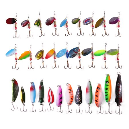 30 PCS Metal Fishing Lures Treble Hooks Assorted Inline Spinner Baits & Spoons Bass Salmon Trout Freshwater