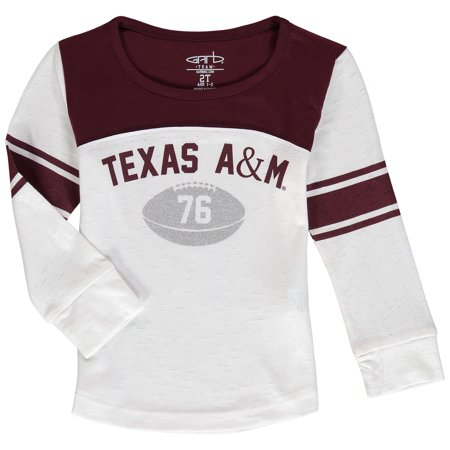 Texas A&M Aggies Girls Toddler Long Sleeve Stripe Football T-Shirt - (Football Coach Shirts With Stripe On Back)