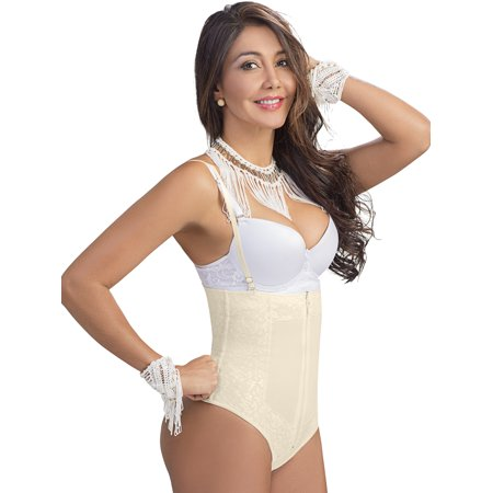 Lowla F348 Strapless High Waisted Thong Bodysuit Tummy Control (Control Strapless Bodysuit)