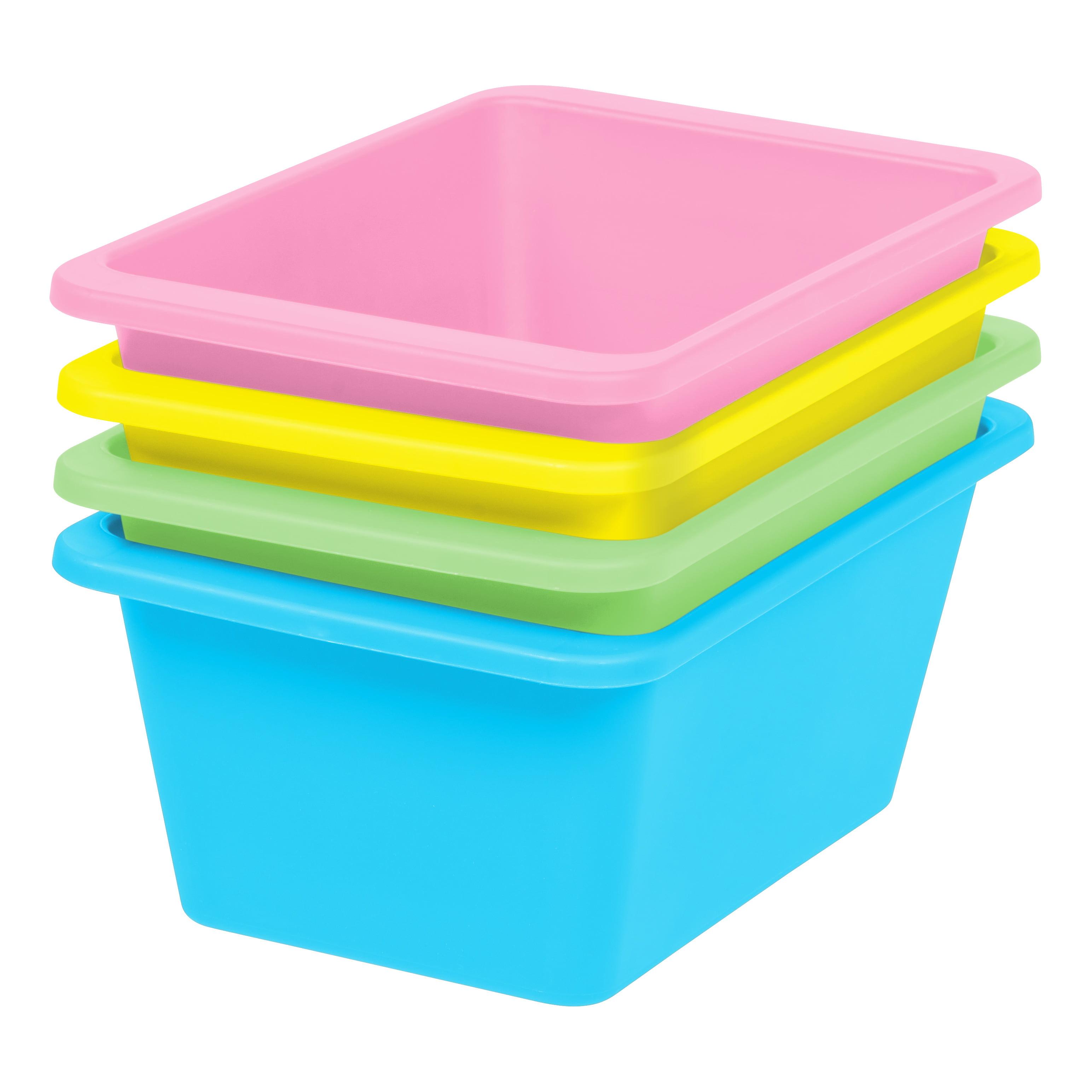 IRIS Small Multi-Purpose Plastic Bins, 4 Pack, Pastel