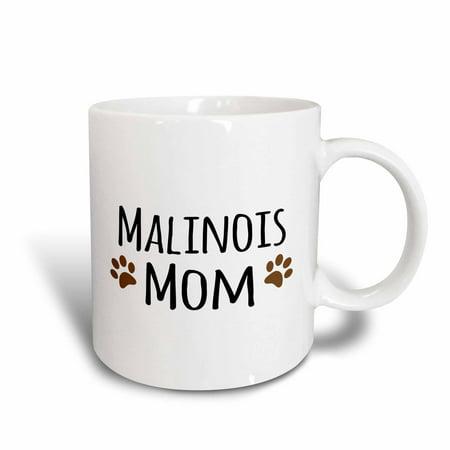 3dRose Malinois Mom - Belgian Malinois dog breed - muddy brown doggie paw prints - doggy lover - pet owner, Ceramic Mug, 15-ounce