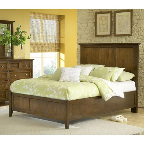 Modern Shaker Truffle Solid Mahogany Panel Bed California King