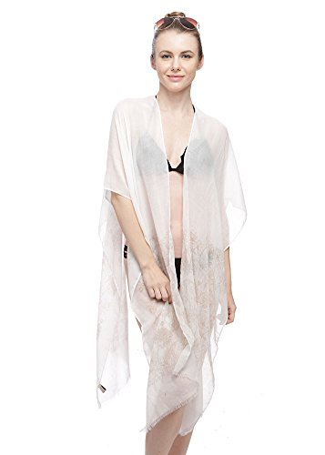 Women's Light Weight Spring Summer Printed Cover Up Top (Beige)