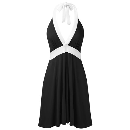 Halter Petticoat - Doublju Womens Halter Neck Sleeveless Casual Short Dress BLACKWHITE S