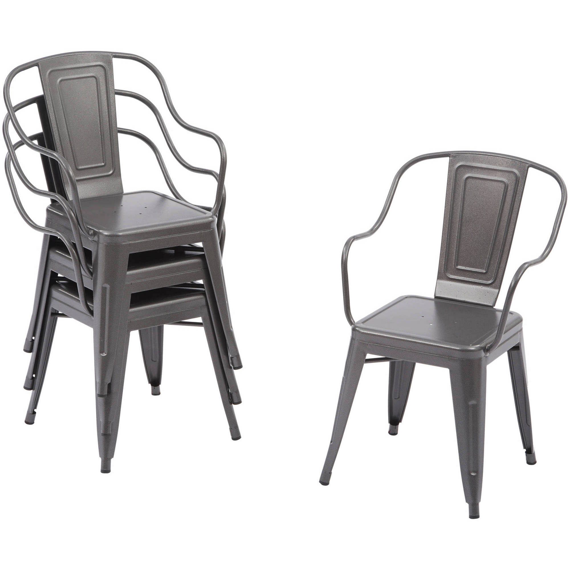 Better Homes And Gardens Camrose Farmhouse Industrial Chairs, 4pk
