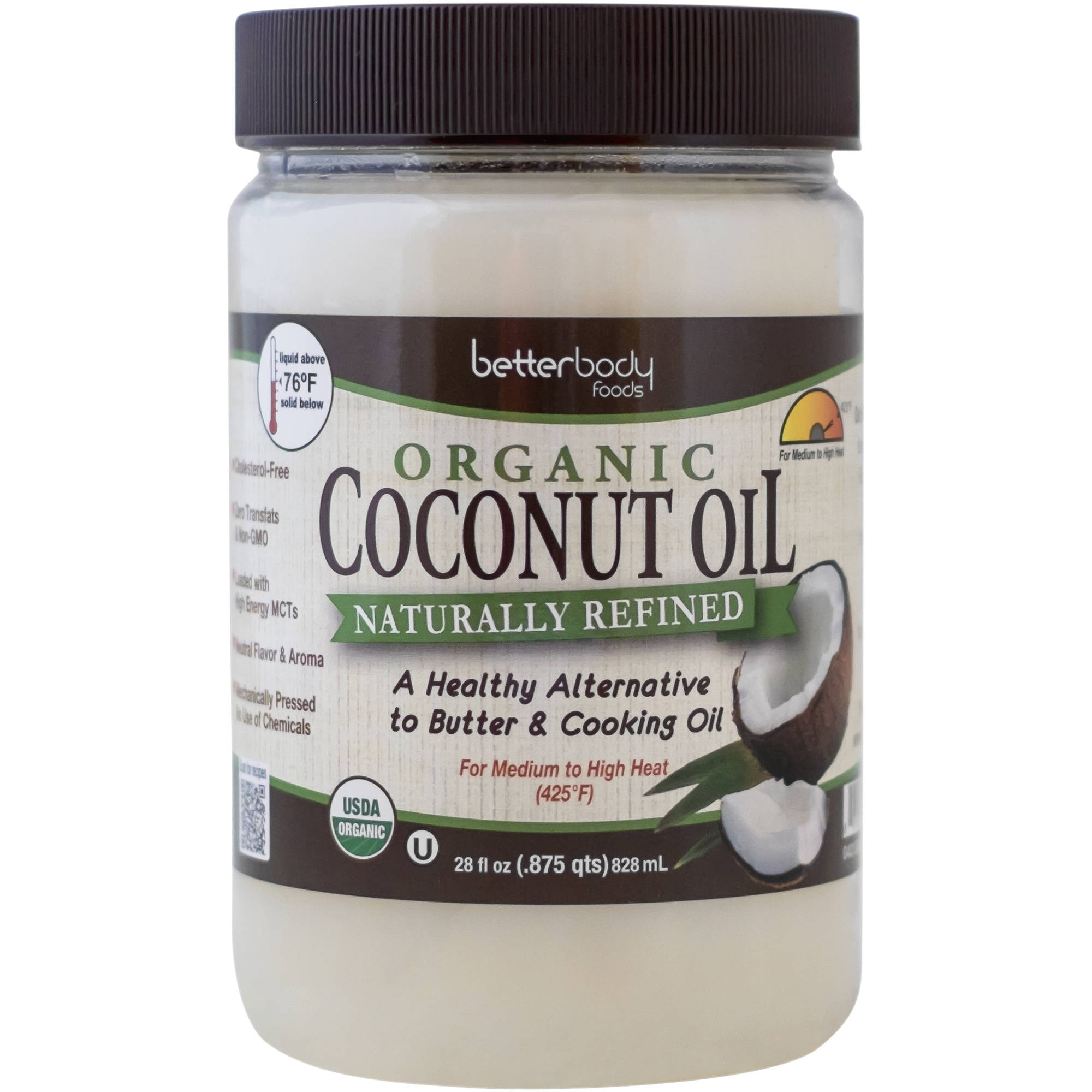 BetterBody Foods Naturally Refined Organic Coconut Oil, 28 fl oz