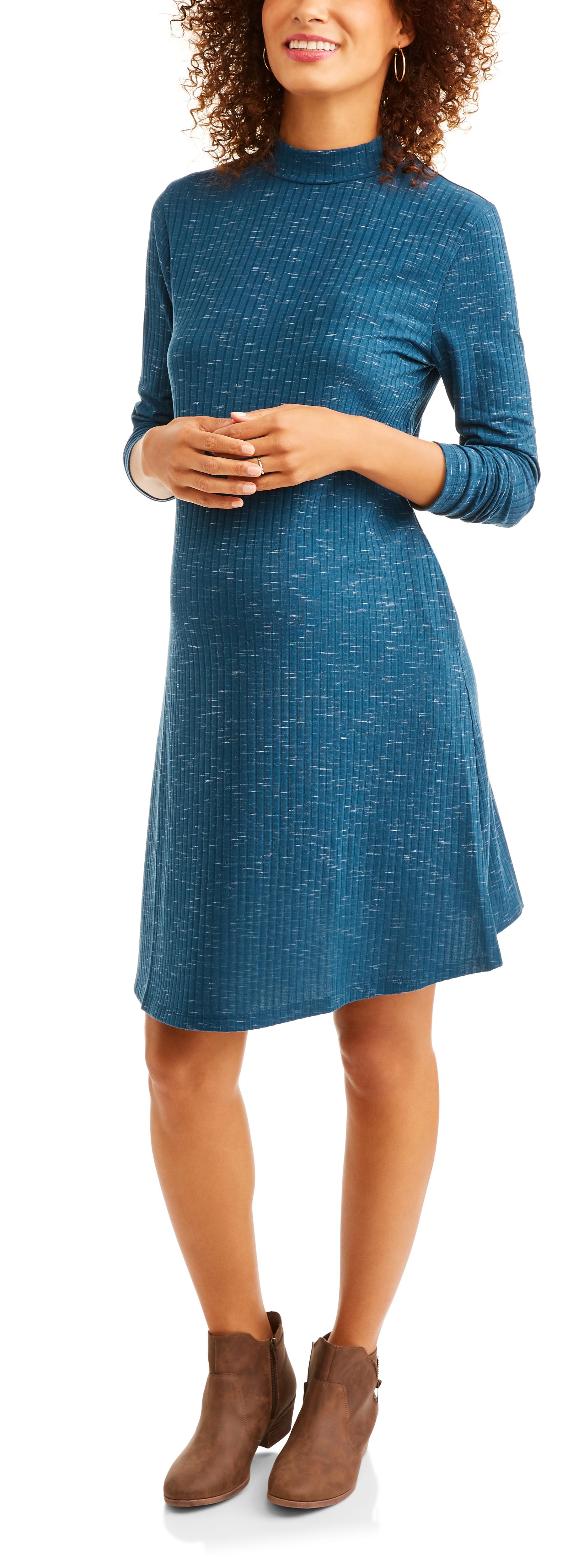 Faded Glory Maternity Long Sleeve Mock Neck Knit Rib Swing Dress