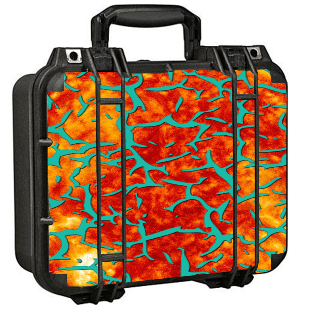 Skin Decal For Pelican 1400 Case / Kobe Design Orange Blue