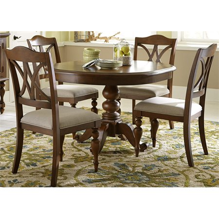 liberty summer house iii round pedestal table in cherry