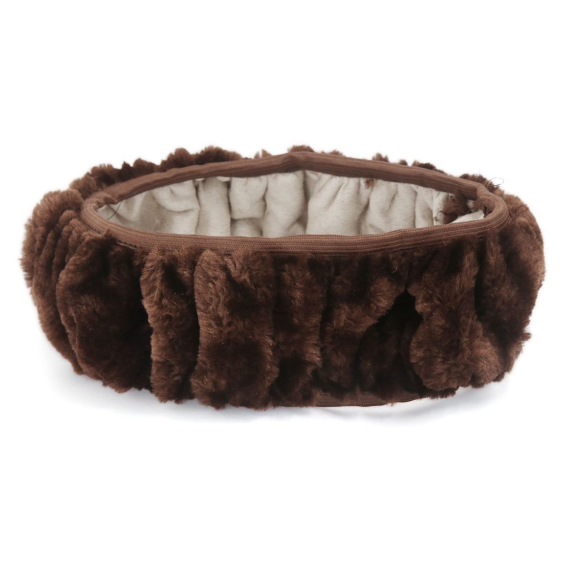 Universal Comfort Plush Fuzzy Stretchy Steering Wheel Cover Coffee Color for Car