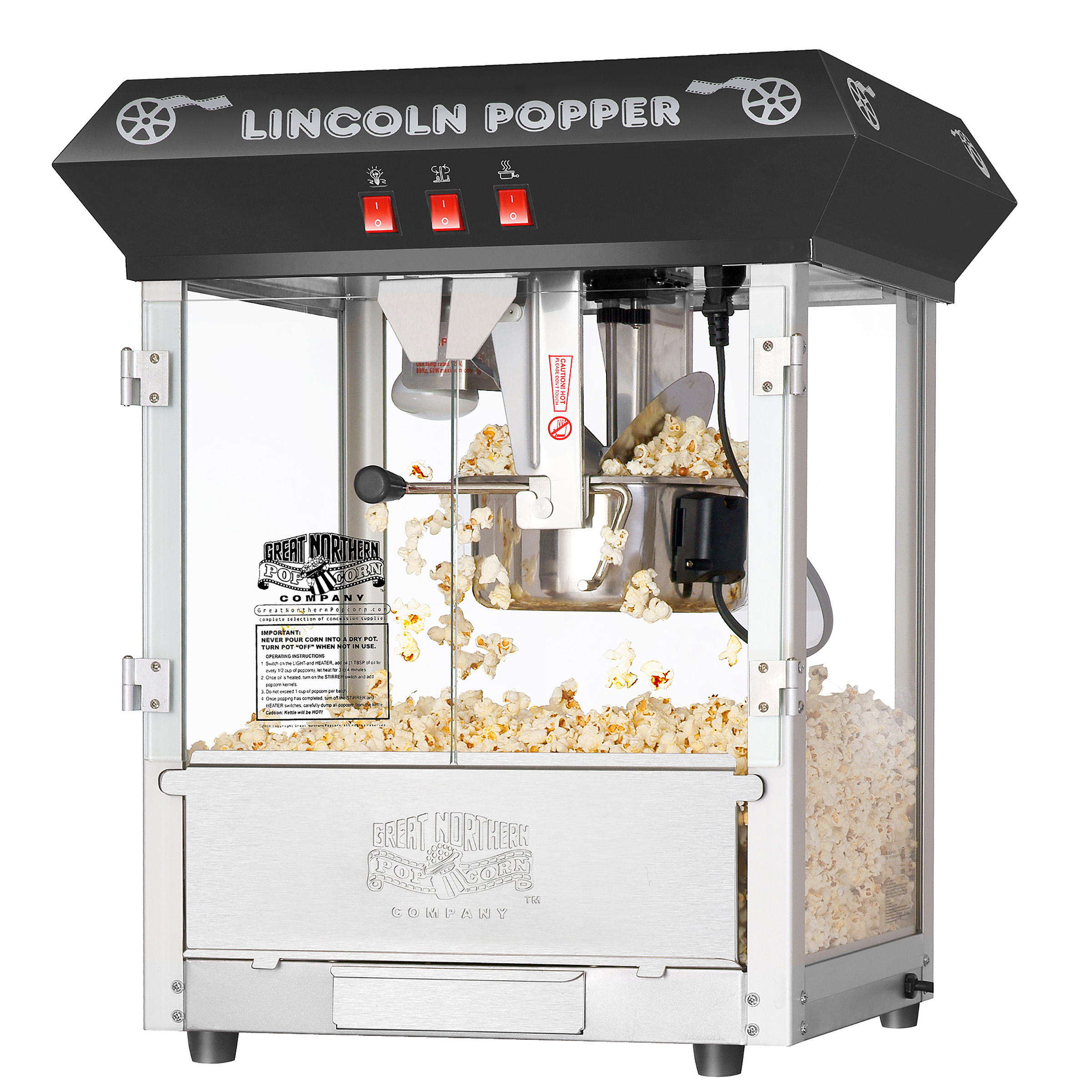 Black 8oz Antique Countertop Lincoln Popcorn Popper Machine by Great Northern Popcorn