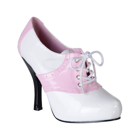 Womens Saddle Shoes White Pink Two Tone Pumps Lace Up Costume 4 1/2 Inch - Pink And White Saddle Shoes