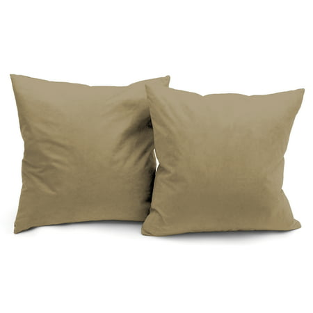 Deluxe Comfort Luxury Feather Filled Microsuede Solid Color Decorative Throw Pillow 16 X Tan 2 Pack