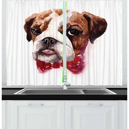 English Bulldog Curtains 2 Panels Set, Watercolor Dog Portrait with a Bow Tie Design Brush Stroke Effect, Window Drapes for Living Room Bedroom, 55W X 39L Inches, Brown Ruby Black, by Ambesonne