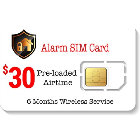 $30 Prepaid Alarm SIM Card for GSM Home Security Alarm System 6 Months (Dual Sim Card Phone)
