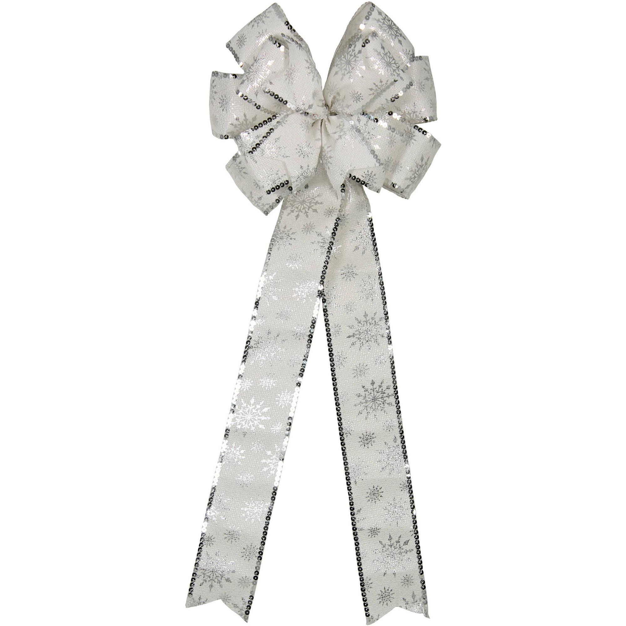 Holiday Time White/Silver Snowflake Christmas Bow