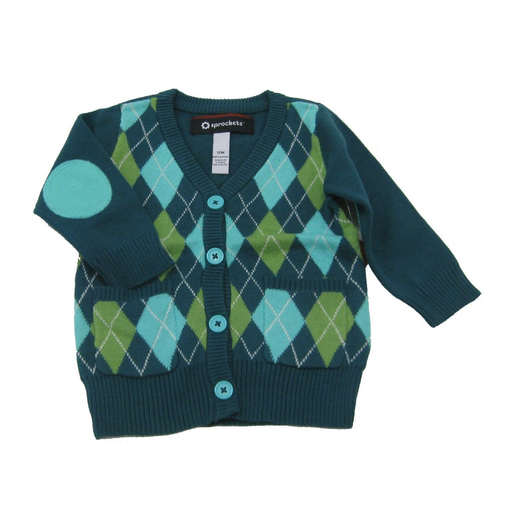 Sprockets Little Girls Blue Turquoise Argyle Pattern V - Neck Long Sleeved Sweater 2T - 6X