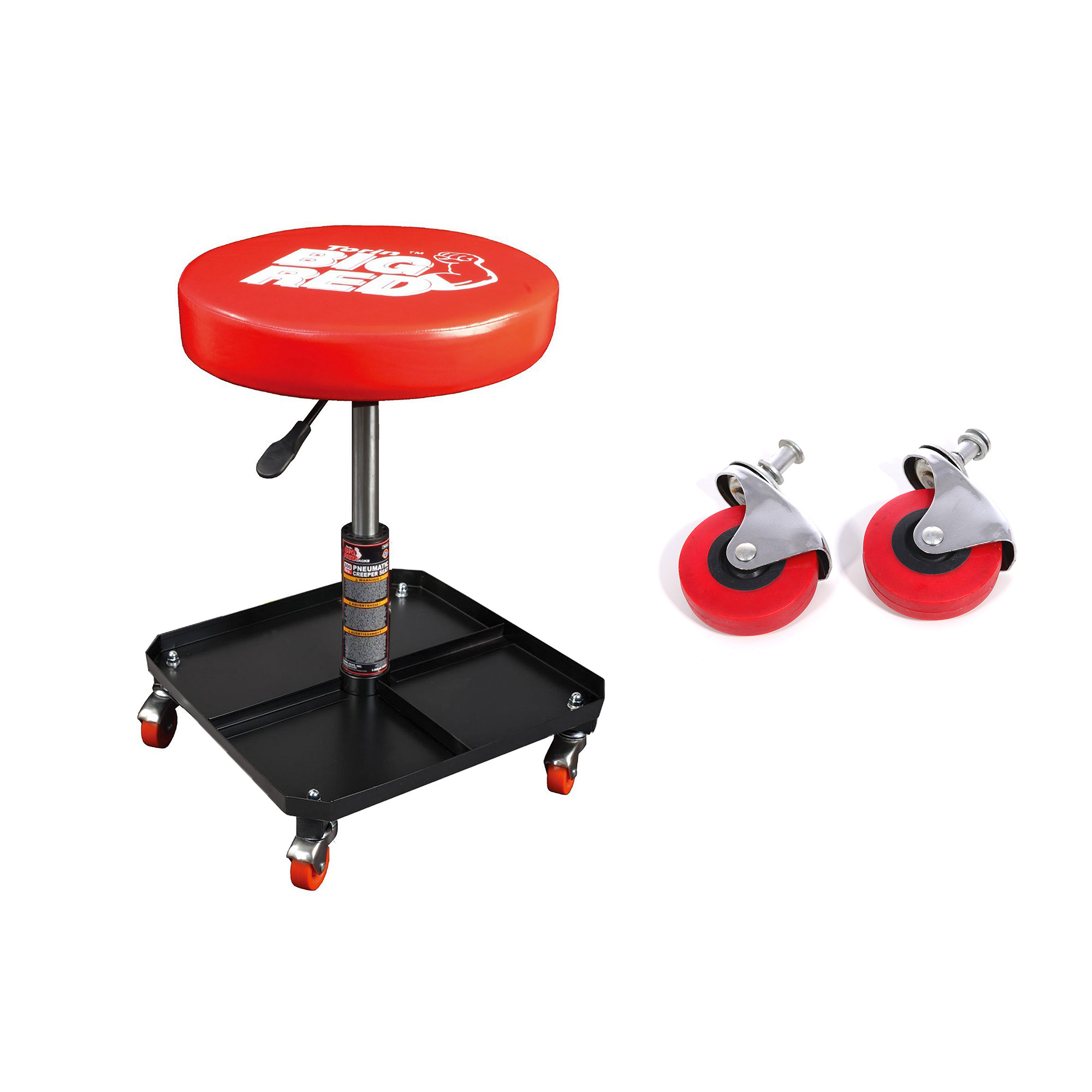 Fits: Creepers, Mechanic Carts, Stools 1 Pair 2.5 Wheels with Posts Torin Big Red Replacement Swivel Casters